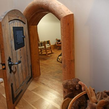 A bit of whimsy and a place of discovery for children is just behind this 3 foot high Hobbit Door.