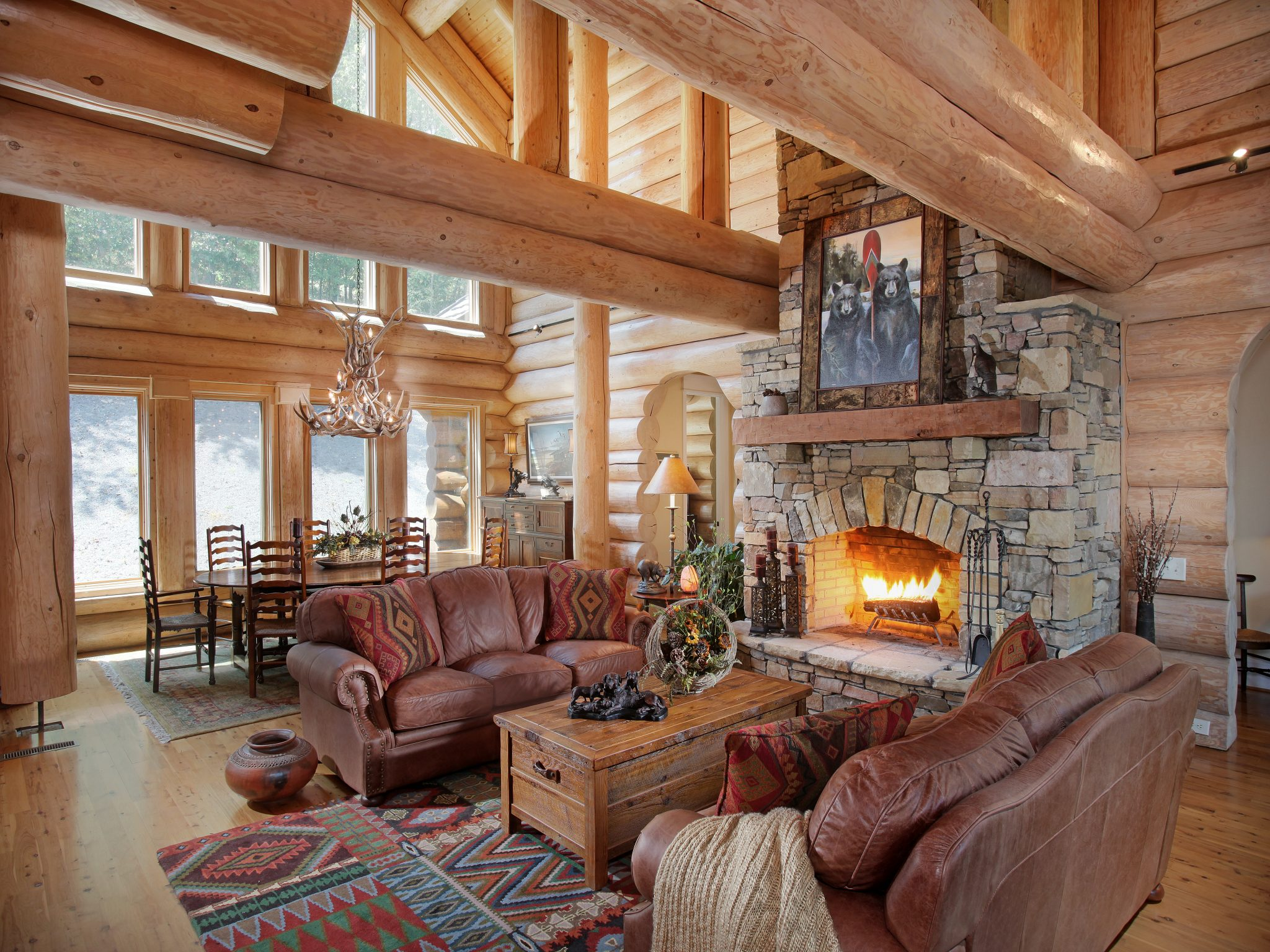 Living Room with round, handcrafted logs
